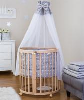 Comfort Baby SmartGrow 7-in-1 ovales Babybett Natur inkl. Bettset Sterne grau