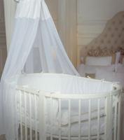 Comfort Baby SmartGrow 7-in-1 ovales Babybett Weiß inkl. Bettset in WEISS