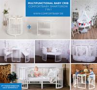 Comfort Baby SmartGrow 7-in-1 ovales Babybett Weiß inkl. Bettset