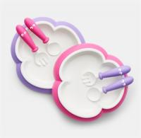 BABYBJÖRN® Kinderteller, Löffel und Gabel, 2 Sets Pink-Lila