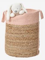 VERTBAUDET Aufbewahrungskorb aus Jute und Baumwolle natur/rosa