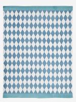 VERTBAUDET Kinderzimmer-Teppich mit Rautenmuster türkis/blau